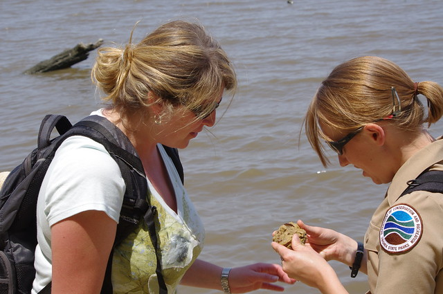 A York River employee helps a participant in a Fossil Hunt examine her find