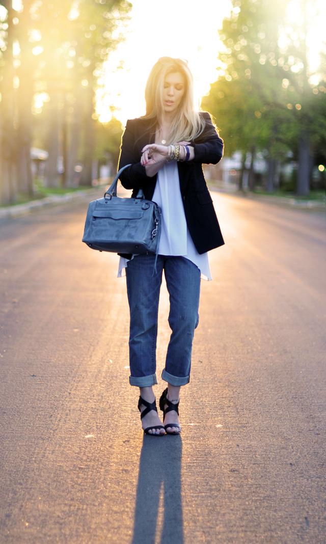 cuffed jeans-black blazer- strappy heels-rebecca minkoff mab