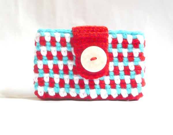 Red/White/Aqua Crocheted Small Wallet