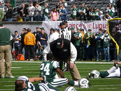 New York Jets Head Coach Rex Ryan greets Darrelle Revis