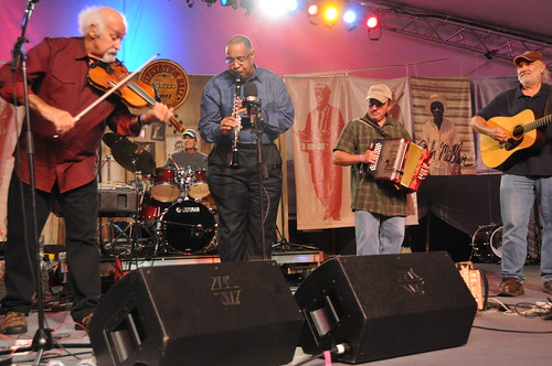 BeauSoleil with Dr. Michael White. Jimmy Breaux on accordion. Photo by Catherine King