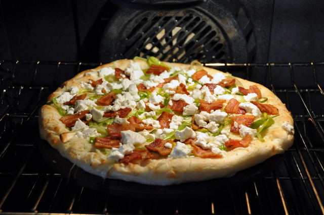 Leek, Bacon, Goat Cheese pizza