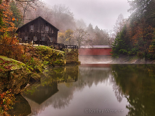 park bridge building mill water architecture creek reflections landscape pennsylvania olympus coveredbridge gristmill e5 mcconnellsmill slipperyrockcreek kathyweaverphotography