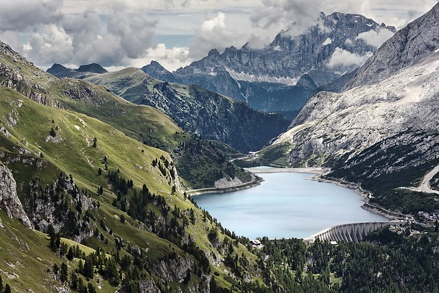 Landscape Mountains Dolomites wonderful fedaia lake