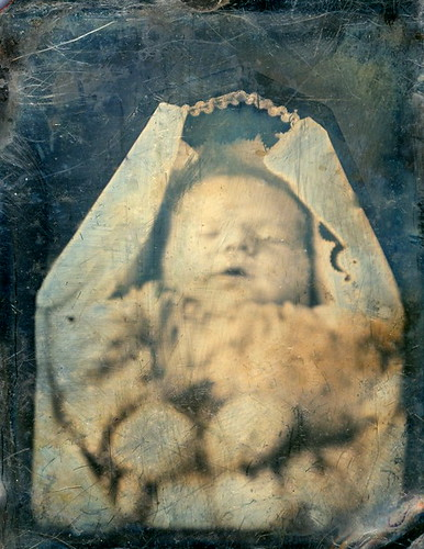 Daguerreotype of Deceased Infant in Coffin, 1/9th-Plate, Circa 1845 by lisby1
