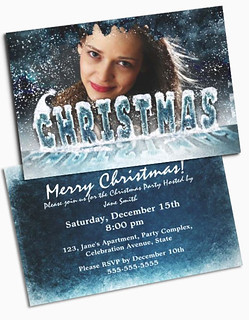Custom photo christmas invitations