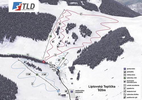 Liptovská Teplička - mapa sjezdovek