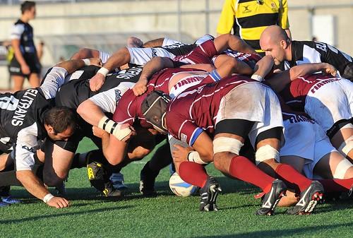 Il pack delle Fiamme Oro contro Piacenza - foto Fabio Bonessi