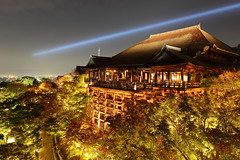 [Free Images] Architecture, Religious Buildings, Temple, Buddhism, Landscape - Japan, Japan - Kyoto Prefecture, Kiyomizu-dera, Night View ID:201210132000