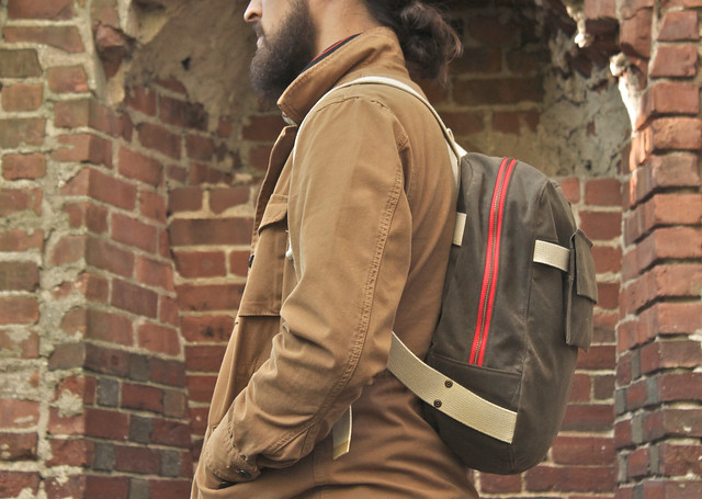 Dark Tan Waxed Backpack