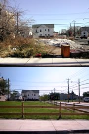 vacant lot in Philadelphia greened by the PA Horticultural Society (by: PA Horticultural Society via Perelman School of Medicine, U pf PA))