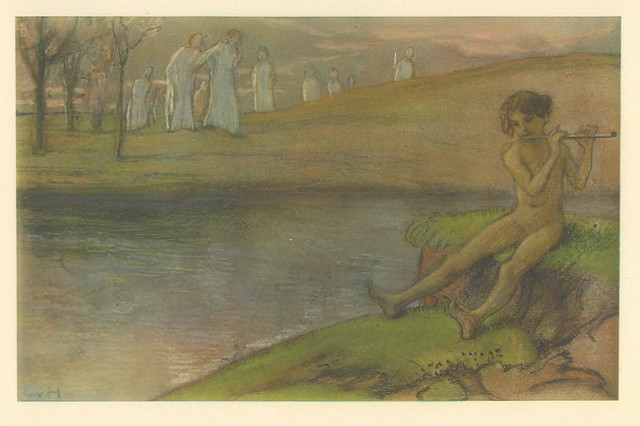 Ludwig von Hofman.  Flötender Knabe (Boy playing Flute).  Three color collotype.  Berlin, 1899.  Pan.  Vol. V, no. 4.