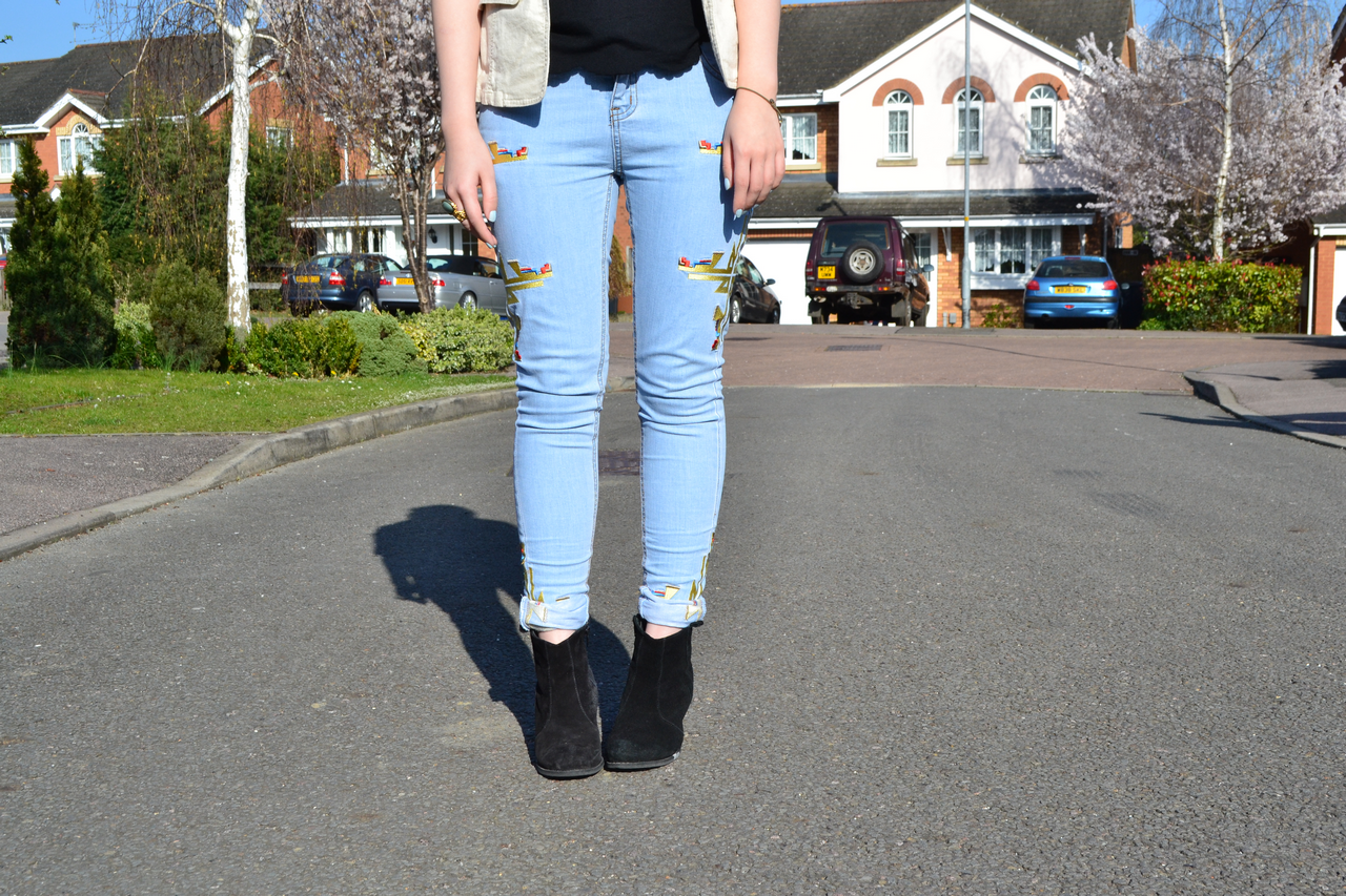 daisybutter - UK Fashion and Style Blog: ways to wear, missguided, tribal embroidered jeans, asos aggie boots