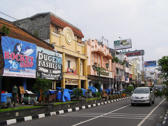 Malioboro街,這裡是日惹市內最繁忙的街道與旅遊區。