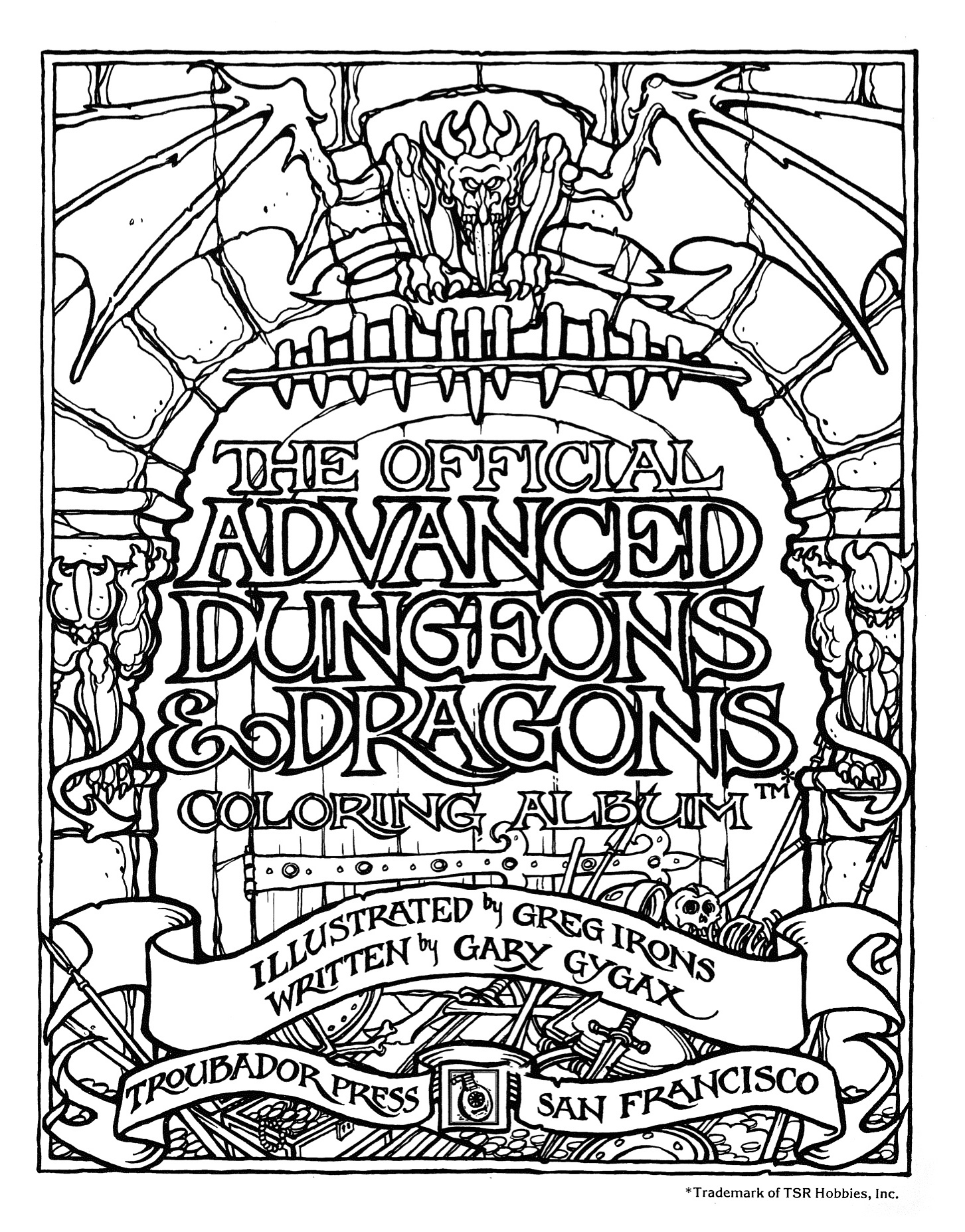 Coloring Book Album Cover : MONSTER BRAINS: The Official Advanced Dungeons and Dragons Coloring Book Illustrated by Greg ...