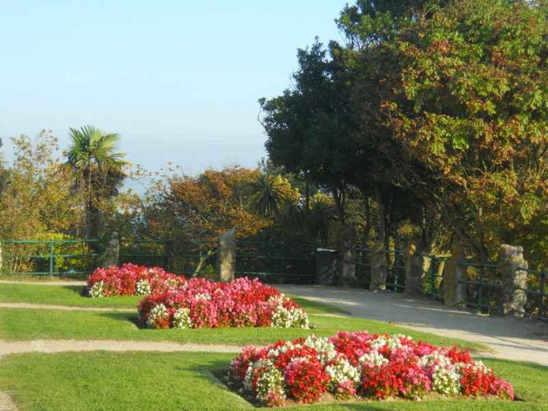 Macizos con flores en Palacio de la magdalena