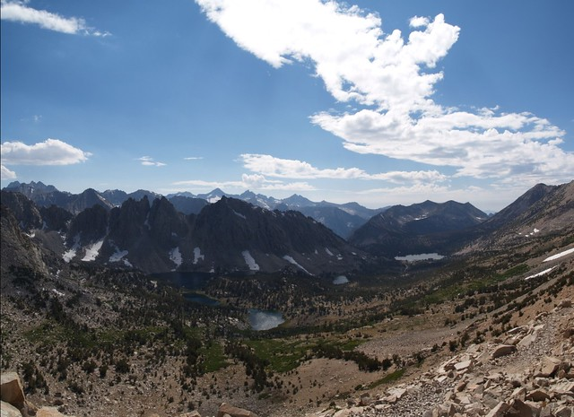 Panorama view from Kearsarge Pass of the Kearsarge Lakes and Bullfrog Lake