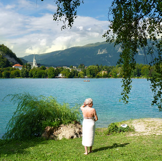 Bathing in the beneficial waters of Lake Bled