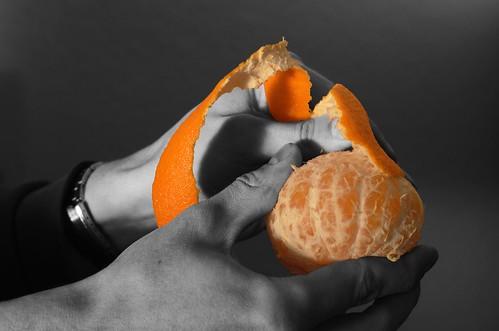 (34/365) Peeling a mandarine