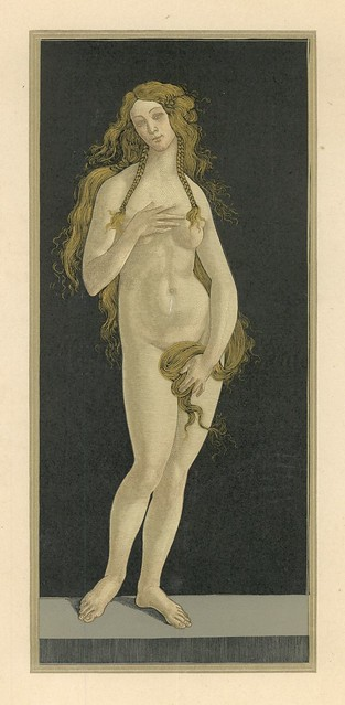 Albert Krüger.  Venus Nach Sandro Botticelli (Venus after Sandro Botticelli). Original six-part woodcut.  Berlin, 1898.  Pan.  Vol. IV, no. 2.