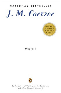 the cover of Disgrace, which is plain white with small blue type