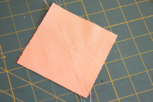 Sewing half square triangle blocks