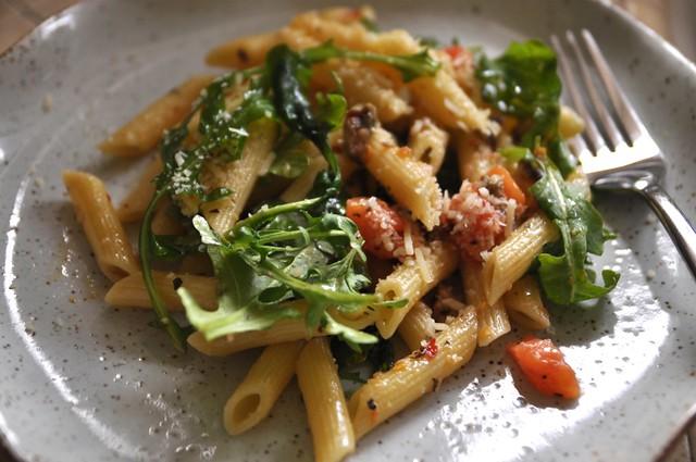 smoked herring, capers, tomatoes & arugula pasta