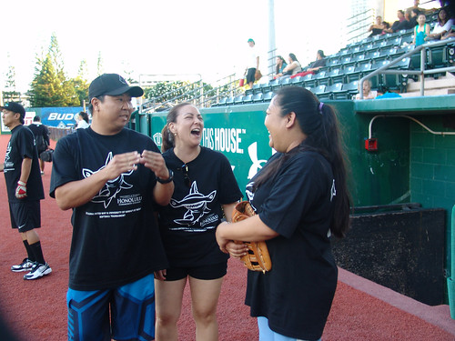 <p>Honolulu Dillinghammas players enjoy a laugh while waiting to take the field in the UH AUW Softball Tourment at Les Murakami Stadium on Sept. 30, 2011</p>