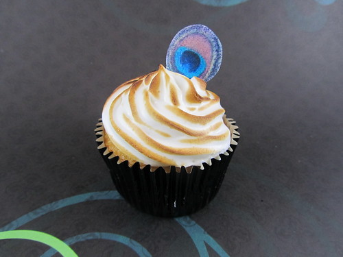 Lemon Tart Cupcake with Edible Peacock Feather