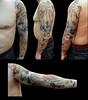 Tatuaje calavera tibetana y carpa koi oriental