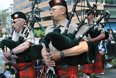 musician, musical ensemble, musical instrument, music, kilt, person, bagpipes,