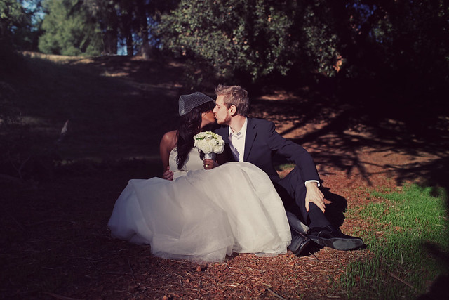 Married outside Los Angeles in a forest.