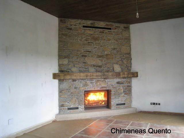 Chimenea dovre 2180 en revestimiento de piedra en taco - Chimeneas quento ...