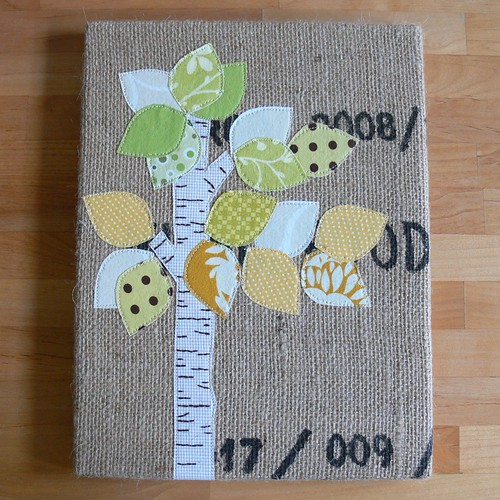 Jenny: Autumn Birch Burlap Art