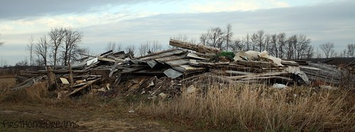 collapsed bank barn