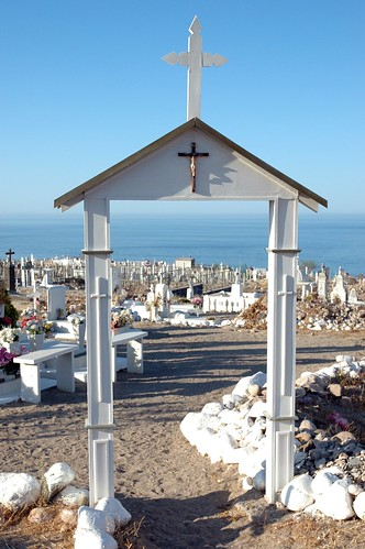 Cemetery gateway, crosses, white stones, cemetery, looking towards the Sea of Cortez, San Rosalia, Baja California Sur, Mexico by Wonderlane