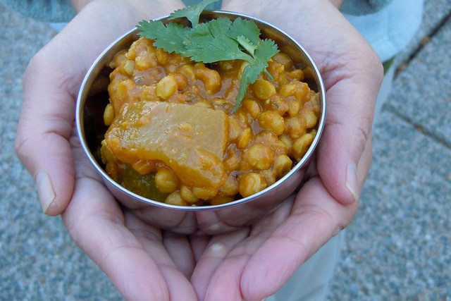 Yellow split pea and calabash squash curry