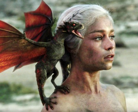 Dany from Game of Thrones with a dragon on her shoulder