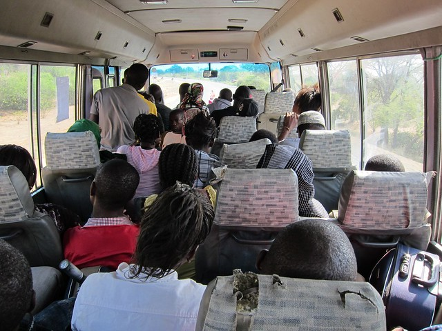 One of Our Many Cramped Local Minibus Rides in Eastern Africa