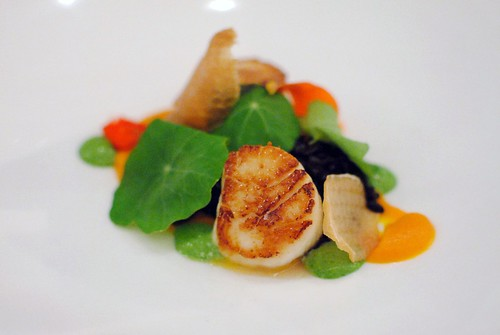 scallop, pumpkin, vadouvan, black rice, nasturtium, nettle emulsion