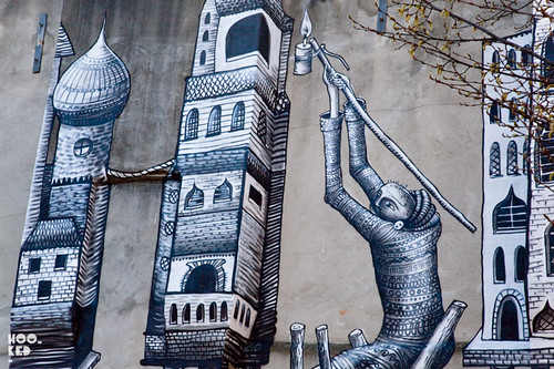 Street Art Mural by street artist Phlegm. Photo ©Hookedblog