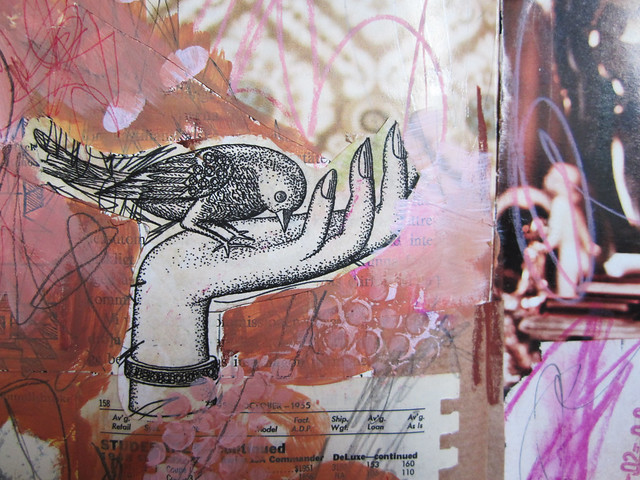 Art Journal detail: bird in the hand