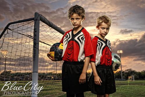 sunset sports boys composite portraits ball goal intense team brothers soccer players hdr bluecityphotography bluecityphotographycom