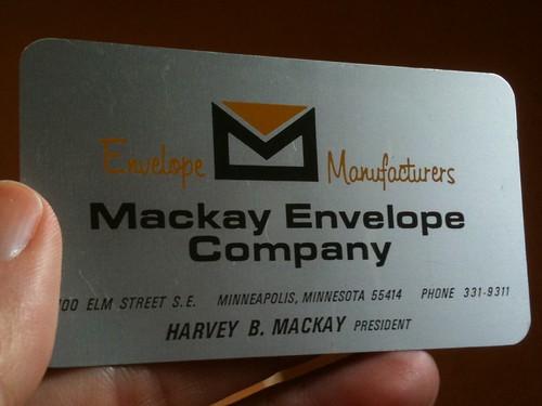 Harvey Mackay aluminum business card, circa 1970