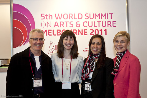 Christopher McDermott (Arts Victoria), Holly Vale (Australia Council for the Arts) with Rosa Fragos and Kate McRae from arinex conference organisers