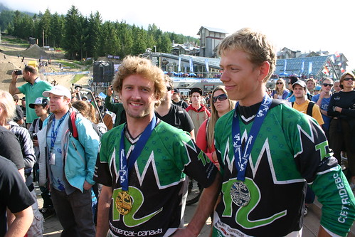 Kris and Nick after the Crankworx Garbanzo