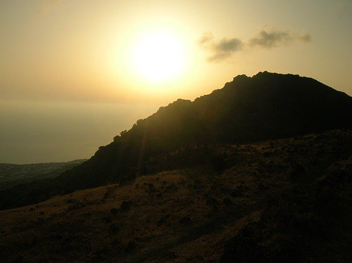 Sunset over Monte Gibele, a small dome erupted on the island of Pantelleria