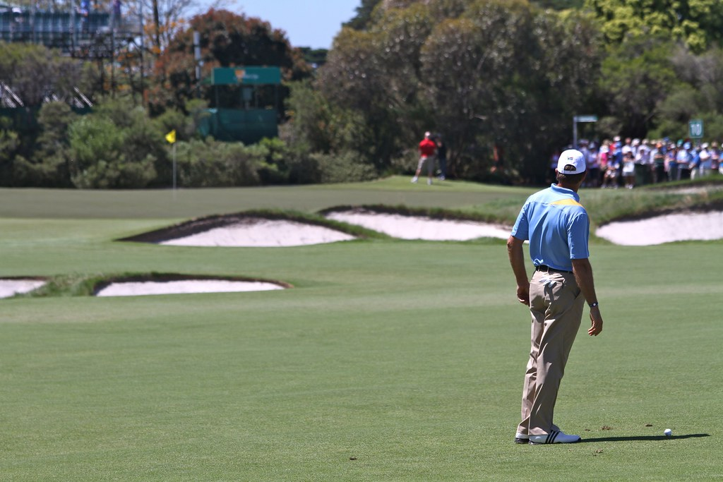 Retief Goosen contemplating his approach shot at 10 (18w).