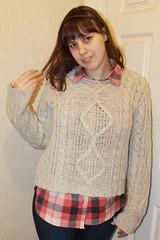 Grunge outfit: Gap jeans, aran fishermen's sweater, flannel shirt, hand-me-down kicks