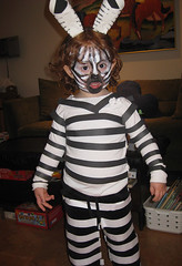 Speck in zebra warpaint for Halloween